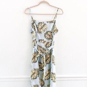 Lush Palm Leaf Print Button Slit Midi Dress